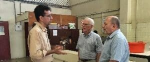 Bob talks with the school director, Eric Garcia about life in Panama.